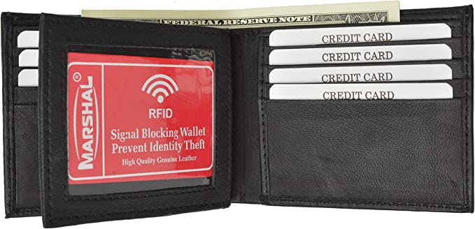 Mens Soft Leather Bifold Credit Card ID wallet Black by Marshal