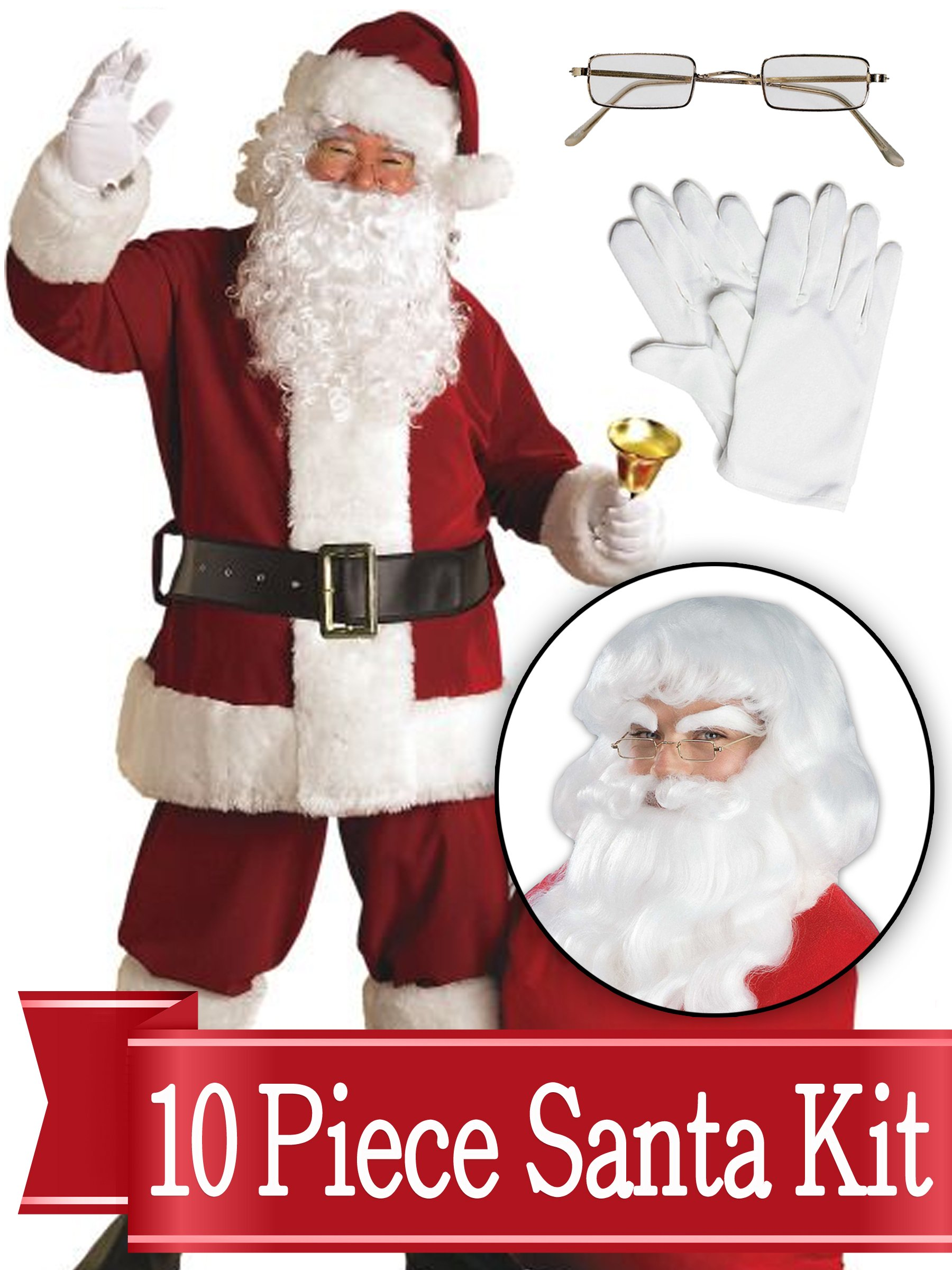 Santa XXL Suit - Crimson Ultra Deluxe Complete 10 Piece Kit - Santa Costume Plush Outfit by BirthdayExpress