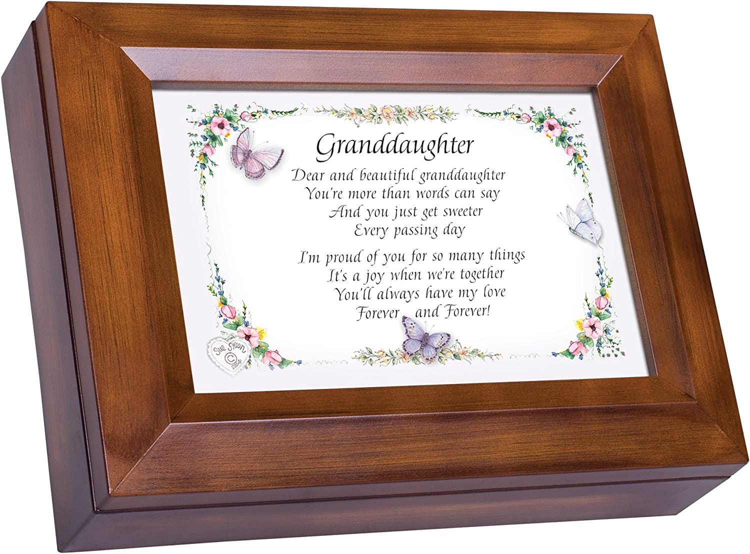 Cottage Garden Granddaughter Proud of You Woodgrain Digital Keepsake Music Box Plays My Wish
