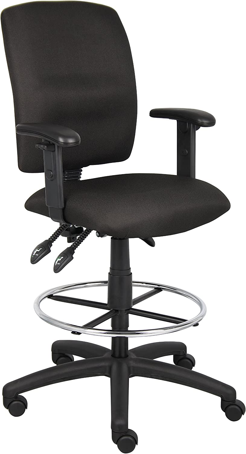 Boss Office Products Multi-Function Fabric Drafting Stool with Adjustable Arms in Black