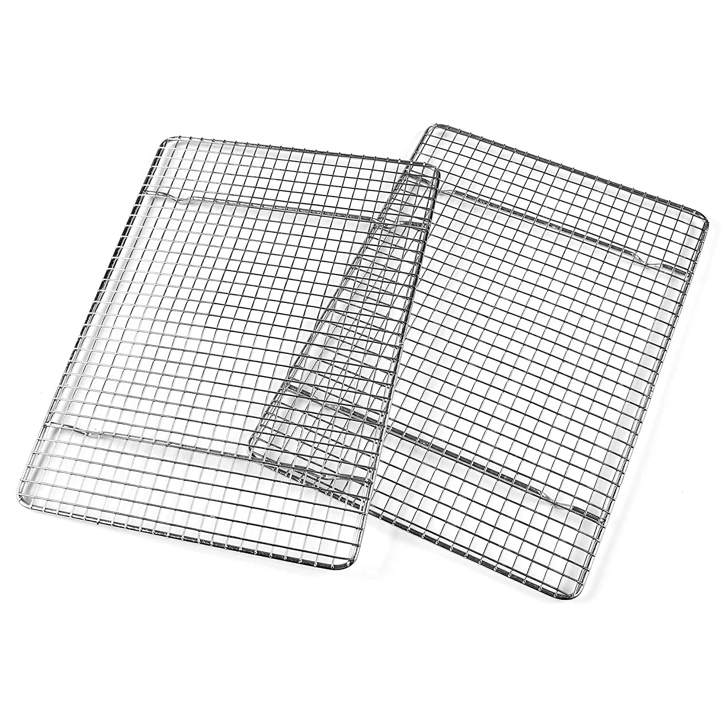 Professional Cross Wire Cooling Rack Half Sheet Pan Grate - 16-1/2 inches x 12 inches Drip Screen 2 Pack