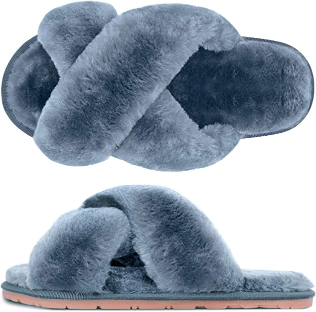Striped Indoor Cotton Slippers Anti-slip Winter House Shoes Soft vO