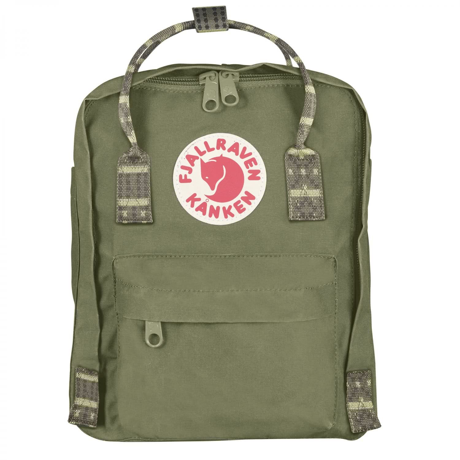 Fjallraven Kanken-Mini Classic Pack, Heritage and Responsibility Since 1960, Green-Folk Pattern