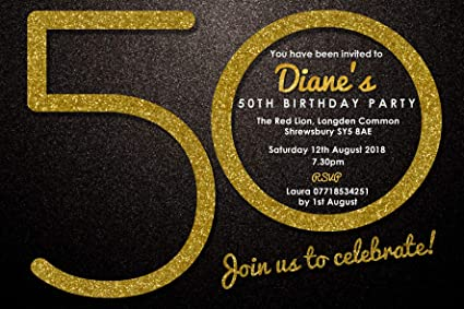 50th Birthday Party Invitations Envelopes Gold Glitter