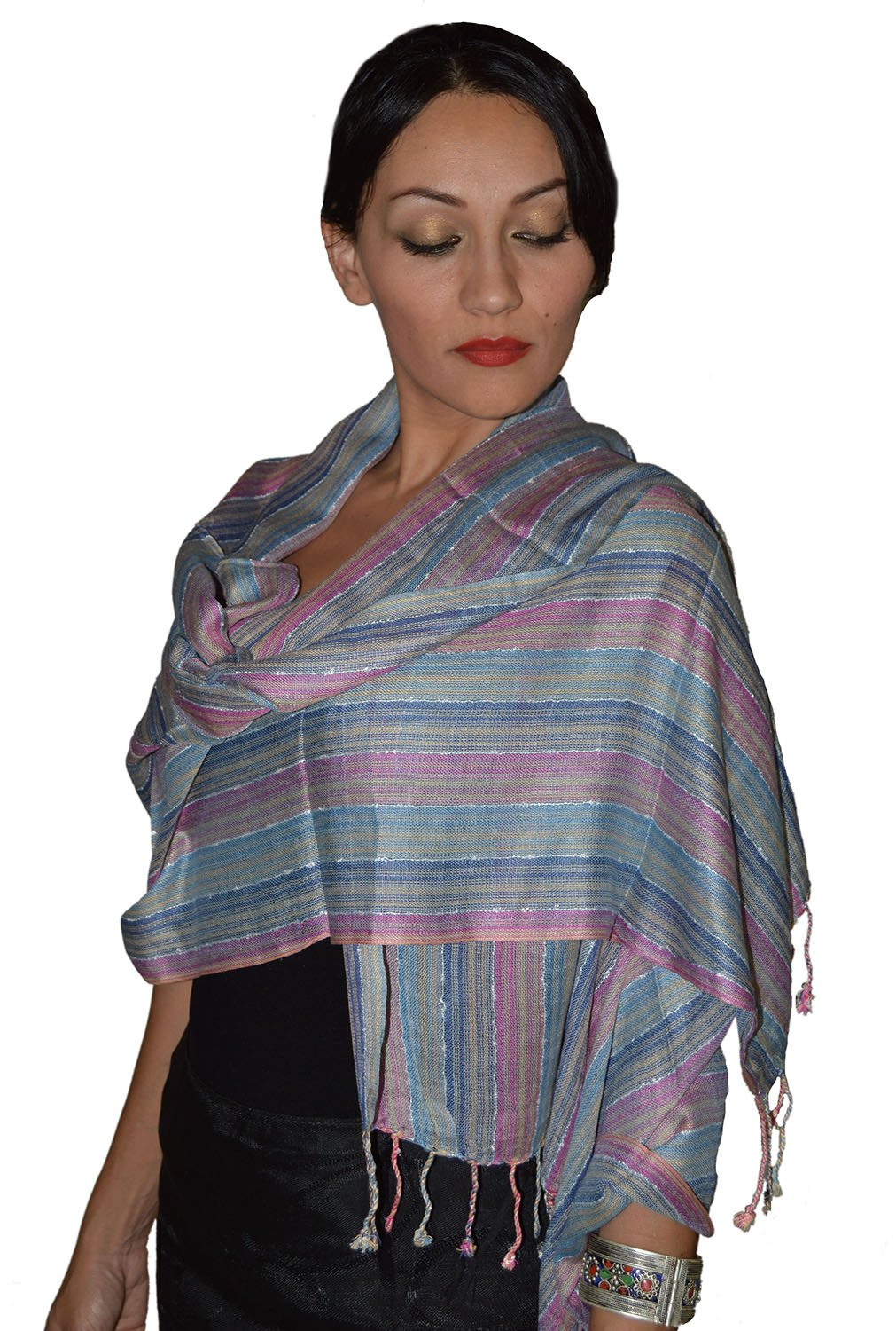 Moroccan Shoulder Shawl Breathable Oblong Head Scarf Cotton Soft Exquisite Wrap
