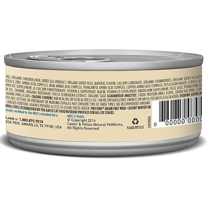 Amazon.com : Castor & Pollux Pristine Wild-Caught Whitefish Recipe Wet Cat Food 5.5 oz, 24 count case : Pet Supplies