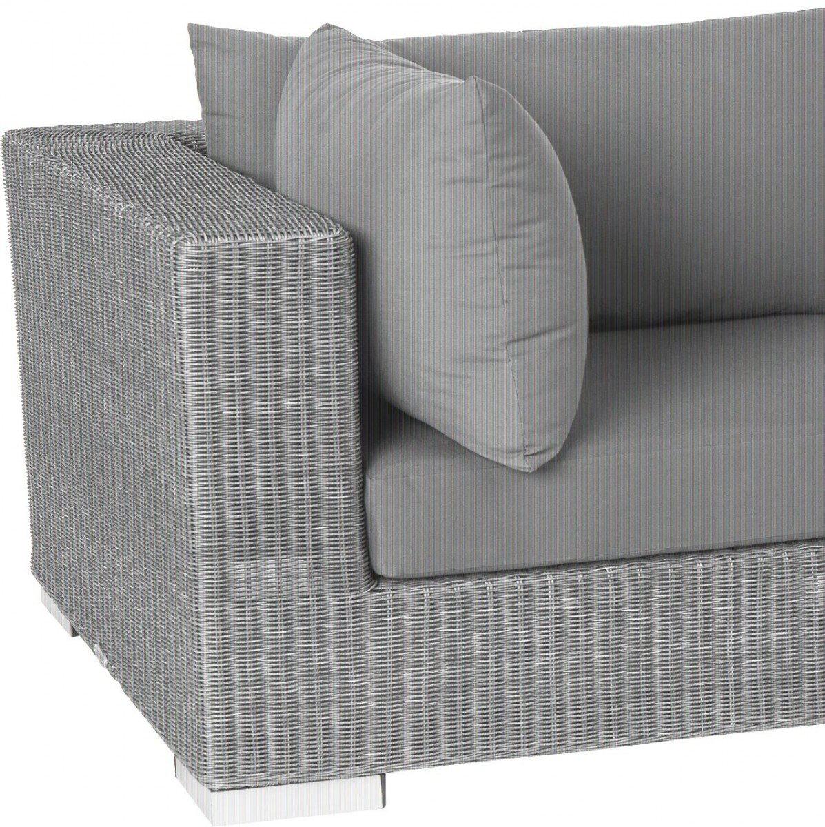 Dreams4Home Eckelement 'Quincy' - Sitz, Sofa, Stuhl, Eckelement, Terrassenmöbel, Loungemöbel, Cocktailmöbel, B/H/T: 87 x 64,5 x 87 cm, Gartenmöbel inklusive Kissen, Rattan, Aluminiumgestell, in grau
