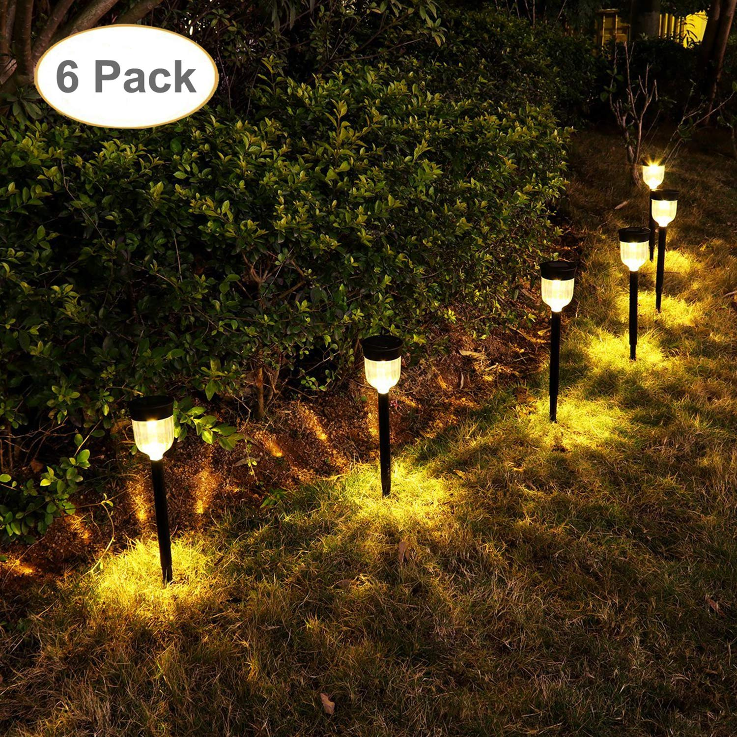 GELOO Solar Pathway Lights 6 Pack Solar Outdoor Lights Solar Garden Lights Outdoor Solar Landscape Lights for Lawn, Patio, Yard, Walkway, Driveway by GELOO