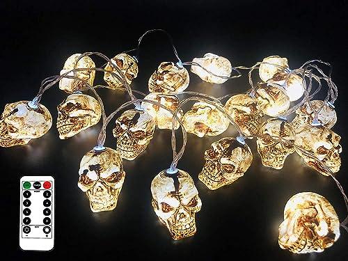 11.5 Feet Battery Operated Halloween String Light with 20 LED Skulls Pumpkin, 8 Modes Dimmable Waterproof – Jack-O-Lantern Halloween Party Decoration Halloween Lights Skulls