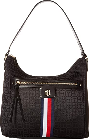 ee55576885c Amazon.com: Tommy Hilfiger Women's Palmert Bucket Hobo Black One Size: Shoes