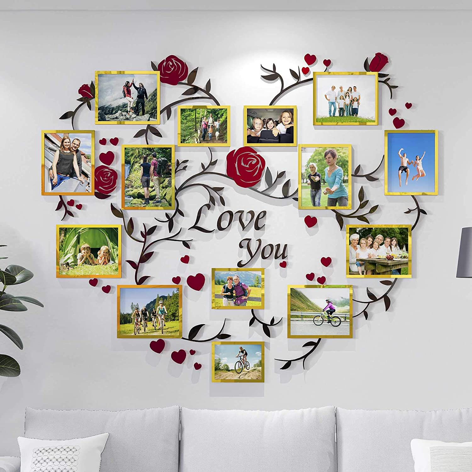 DecorSmart Heart Family Tree Wall Decor Picture Frame Collage Golden Removable 3D DIY Acrylic Wall Stickers for Living Room with Rose and Quote Love You