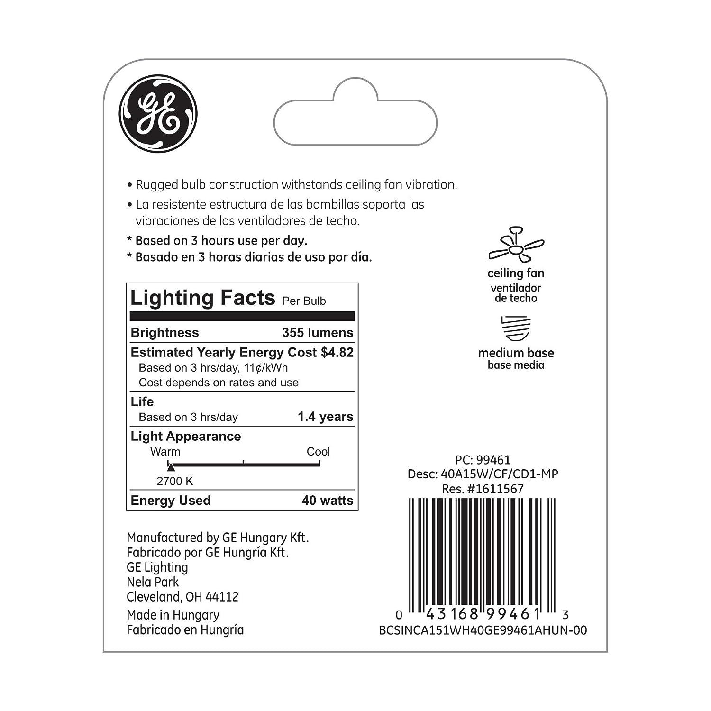 GE Lighting 99461 40-watt 355-Lumen Dimmable A15 Ceiling Fan Bulb with Medium Base, 1-Pack - - Amazon.com