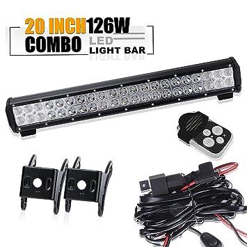 Peachy 20 126W Led Light Bar Flood And Spot Combo Beam Work Light Plus Wiring Digital Resources Apanbouhousnl