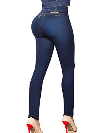 2ae53892ded Aranza Pantalones Colombianos Levanta Cola Butt Lifting Colombian Jeans Mid  Rise Blue