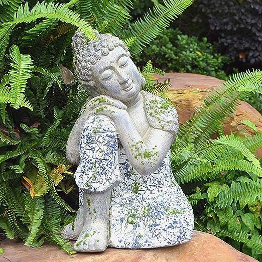 Gran Buda Sentado Cabeza En La Rodilla Dormir Piedra Ornamento del Jardín Zen Meditando: Amazon.es: Hogar