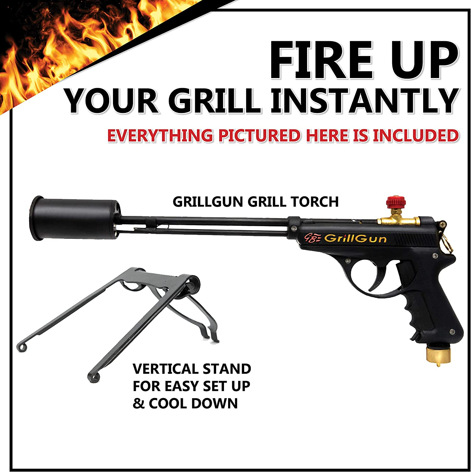 grillblazer GrillGun Basic Grill Torch & Lighter - Charcoal and Wood Starter - Professional Grilling and BBQ Handheld Blowtorch for Chefs, Men and Women Who Want to Have The Best Tool for The Job : Garden & Outdoor