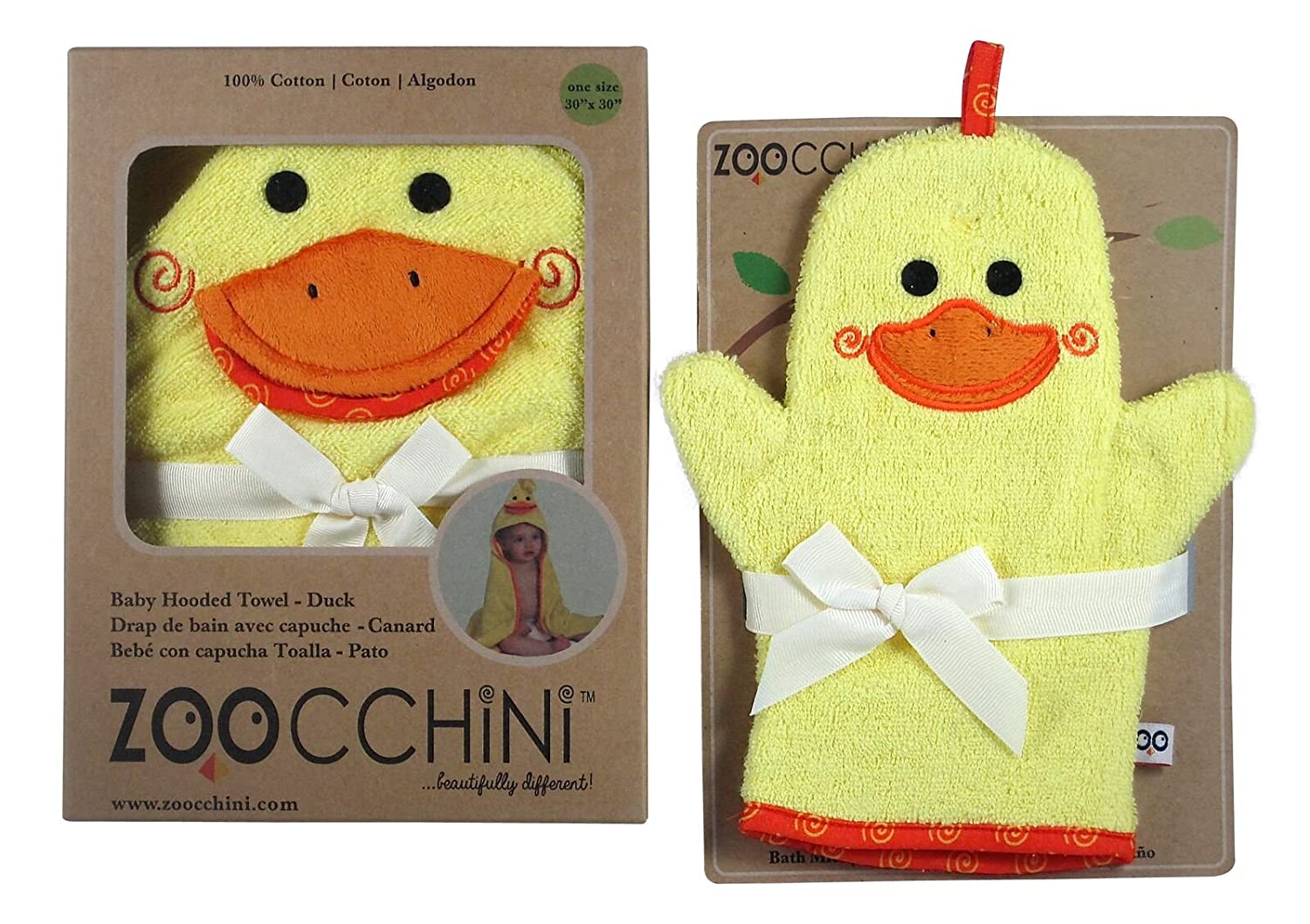 Amazon.com : Zoocchini Baby Super Soft Hooded Baby/Infant Puddles the Duck Towel & Bath Mitt : Baby