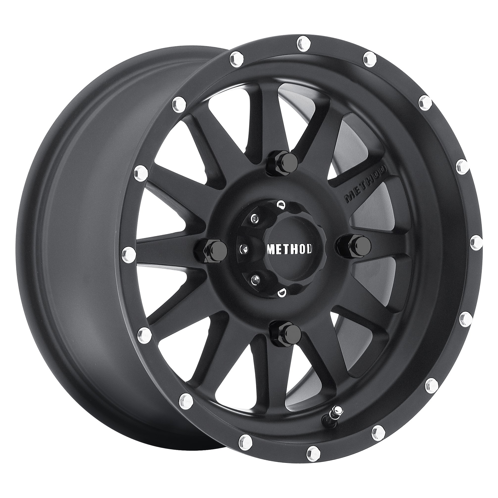 Method Race Wheels The Standard Matte Black Wheel with Stainless Steel Accent Bolts (12x7''/4x156mm) 13 mm offset