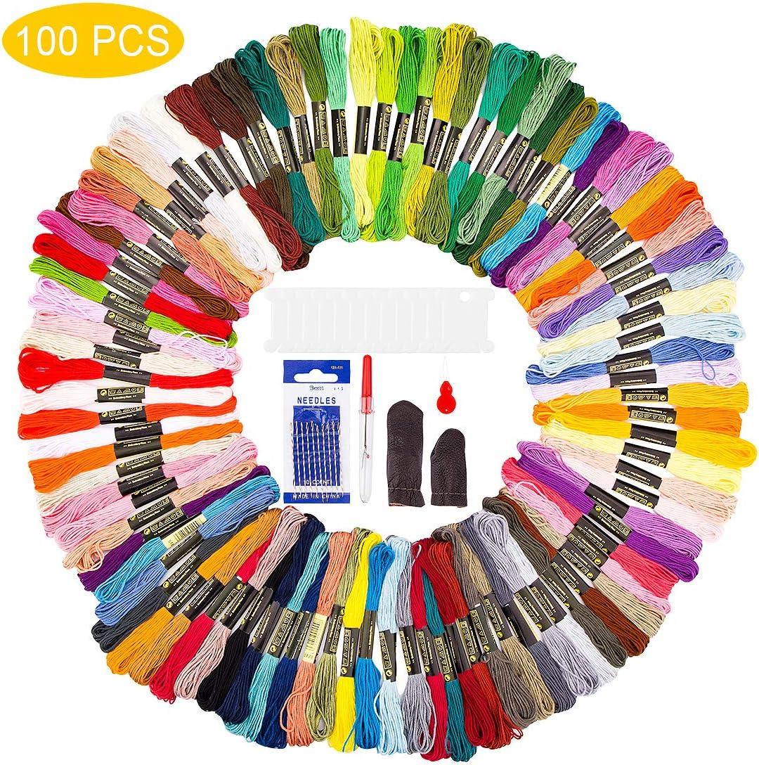 Hilos Punto de Cruz zedela, hilos para hacer pulseras, Hilo de bordar 100 Colores, punto de cruz kits, Algodón 100%