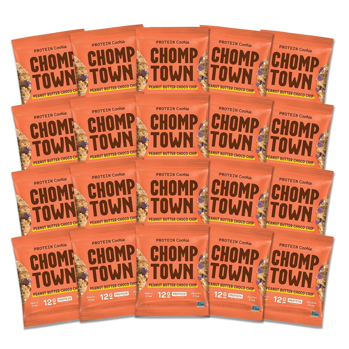 Chomptown | Peanut Butter Chocolate Chip | High-Protein Cookie | 12g Protein | Gluten-Free | Dairy-Free | Non-GMO | Fair Trade | 2.75 oz (Pack of 20) by Chomptown