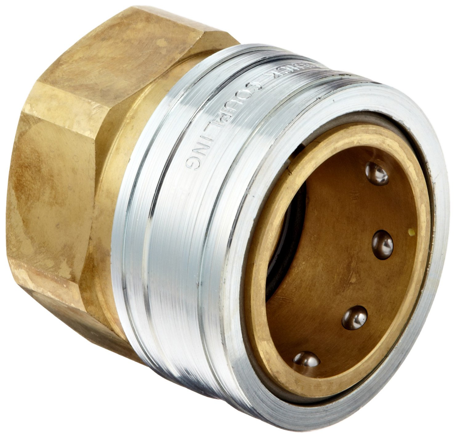 Dixon STFC10 Brass Hydraulic Quick-Connect Fitting, 1-1/4'' Female Coupling x 1-1/4''-11-1/2 NPTF Female by Dixon Valve & Coupling (Image #1)