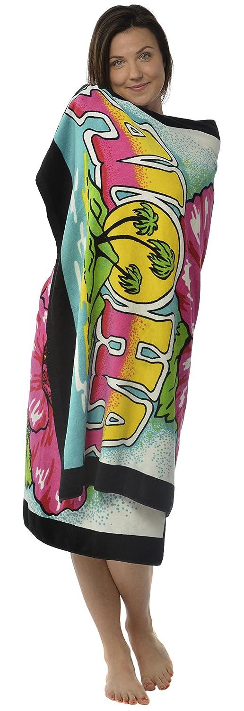 Amazon.com: Oversized Terry Velour Beach Towel Aloha Hibiscus Flower Hummingbird 40