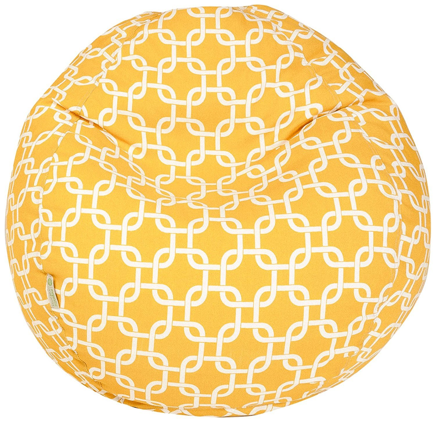 Majestic Home Goods Classic Bean Bag Chair - Links Giant Classic Bean Bags for Small Adults and Kids (28 x 28 x 22 Inches) (Yellow)