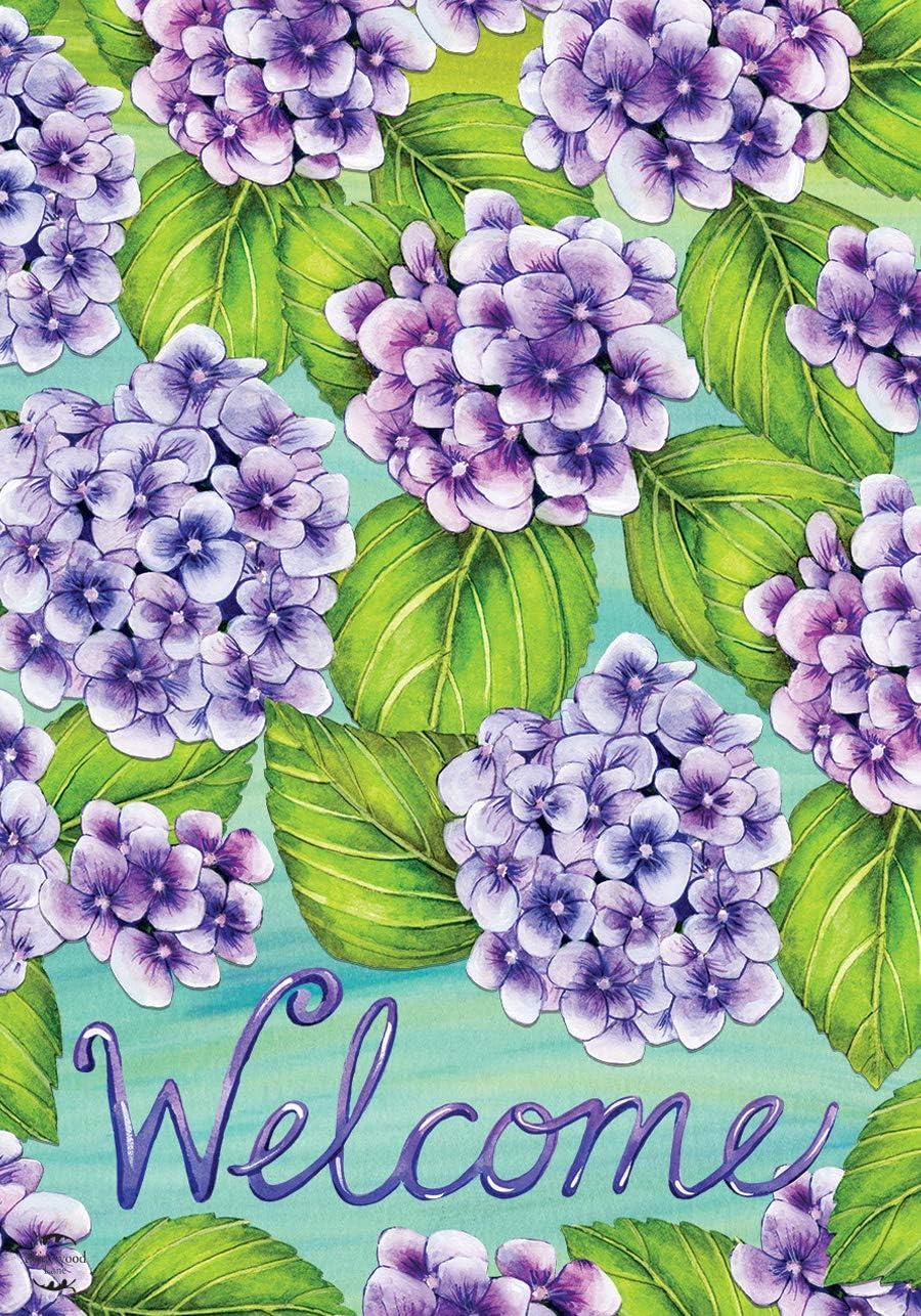 "Briarwood Lane Purple Hydrangeas Spring Garden Flag Welcome Floral 12.5"" x 18"""