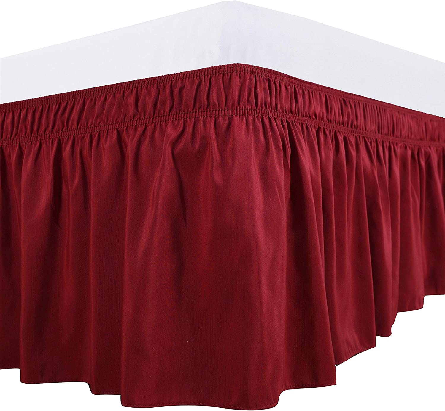 Biscaynebay Wrap Around Bed Skirts Elastic Dust Ruffles, Easy Fit Wrinkle and Fade Resistant Silky Luxrious Fabric Solid Color, Red for for Full, Full XL, Twin and Twin XL Size Beds 15 Inches Drop