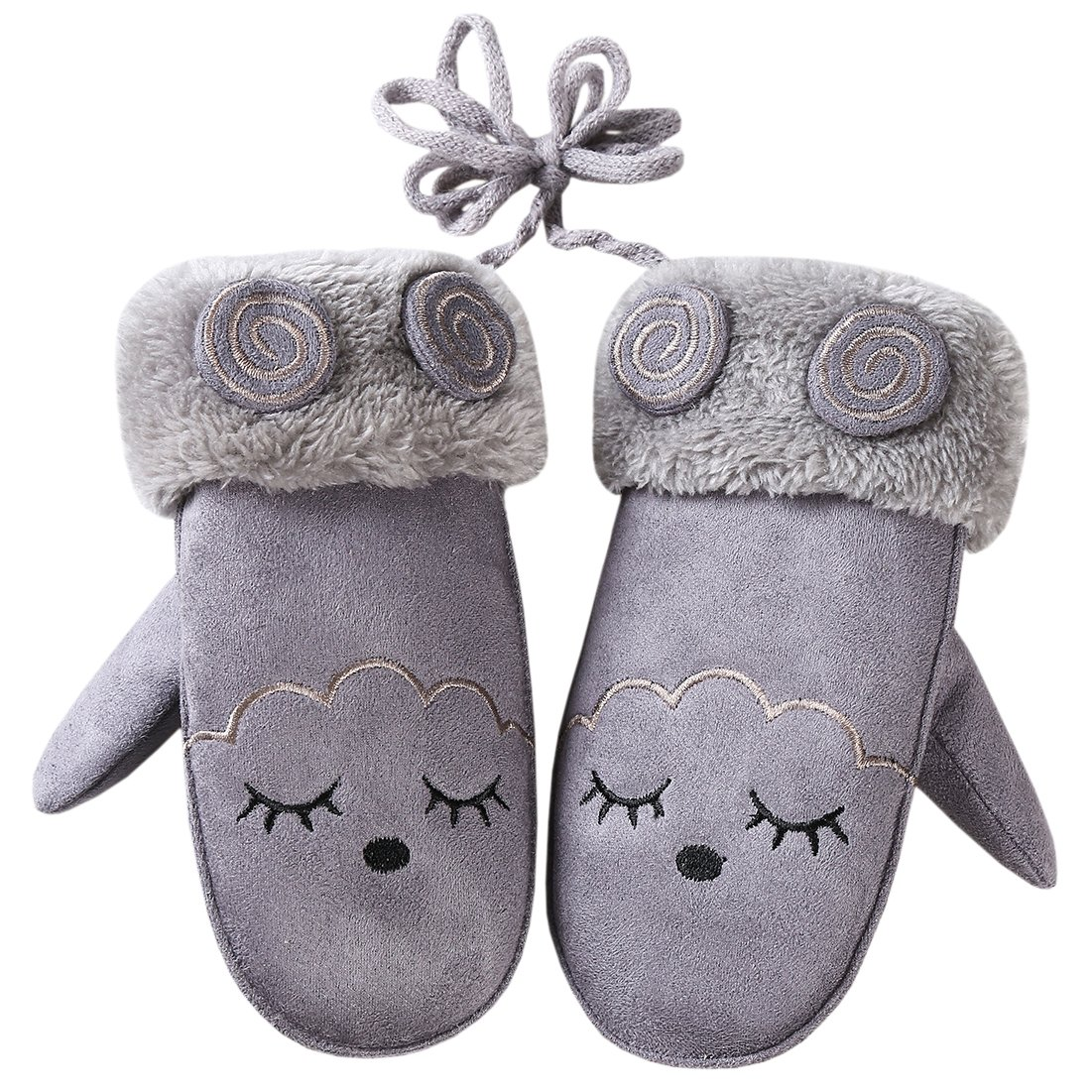 BaiX Girls' and Boys' Cute Cartoon Windproof Suede Mittens Kids Warm Gloves G16812346