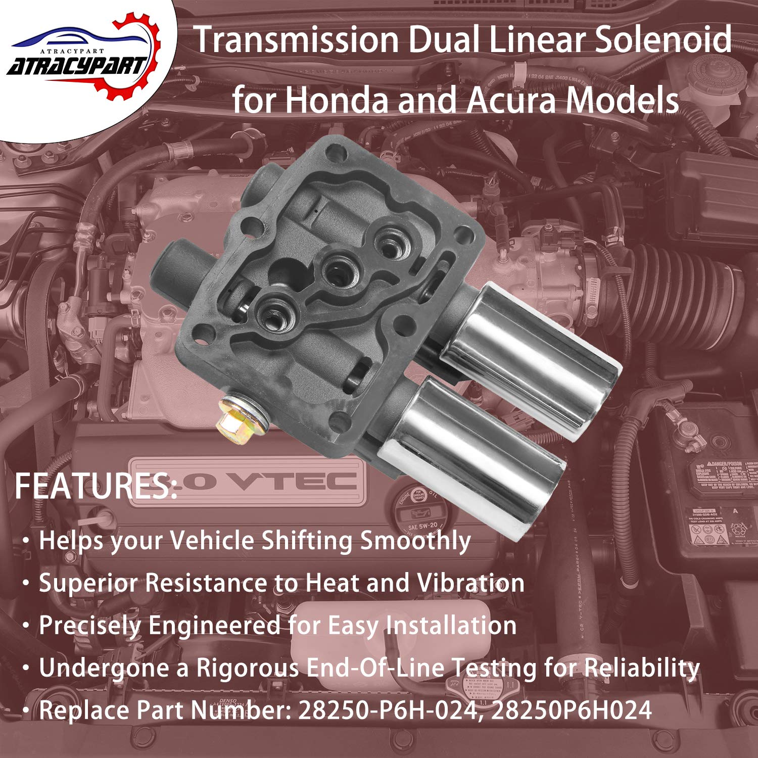 Transmission Dual Linear Solenoid with 1PCS Gasket and 3PCS O-Rings 28250P6H024 for Honda Accord Odyssey Pilot Prelude Acura CL TL MDX Replaces# 28250-P6H-024