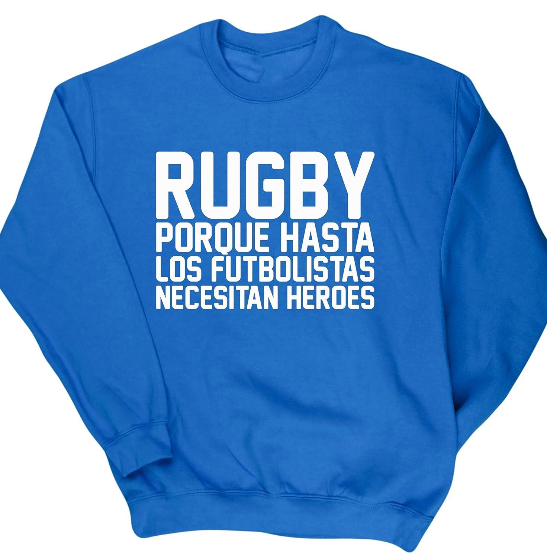 HippoWarehouse Rugby porque hasta los futbolistas necesitan héroes jersey sudadera suéter derportiva unisex: Amazon.es: Ropa y accesorios