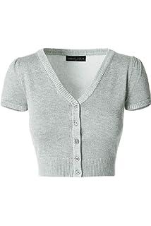 2531960498b iliad USA Womens Button Down Short Sleeve Bolero Cropped Cardigan Sweater