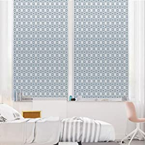 """Geometric 3D No Glue Static Decorative Privacy Window Films, Complex Optical Illusional Design with Vertical Nested Squares Chevron Zigzags,24""""x36"""",for Home & Office Decor,Blue White"""