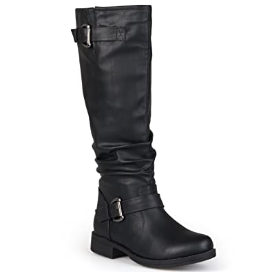0bf15f46f6b4 Image Unavailable. Image not available for. Color  Journee Collection Womens  Extra Wide-Calf Buckle Knee-High Riding Boots ...