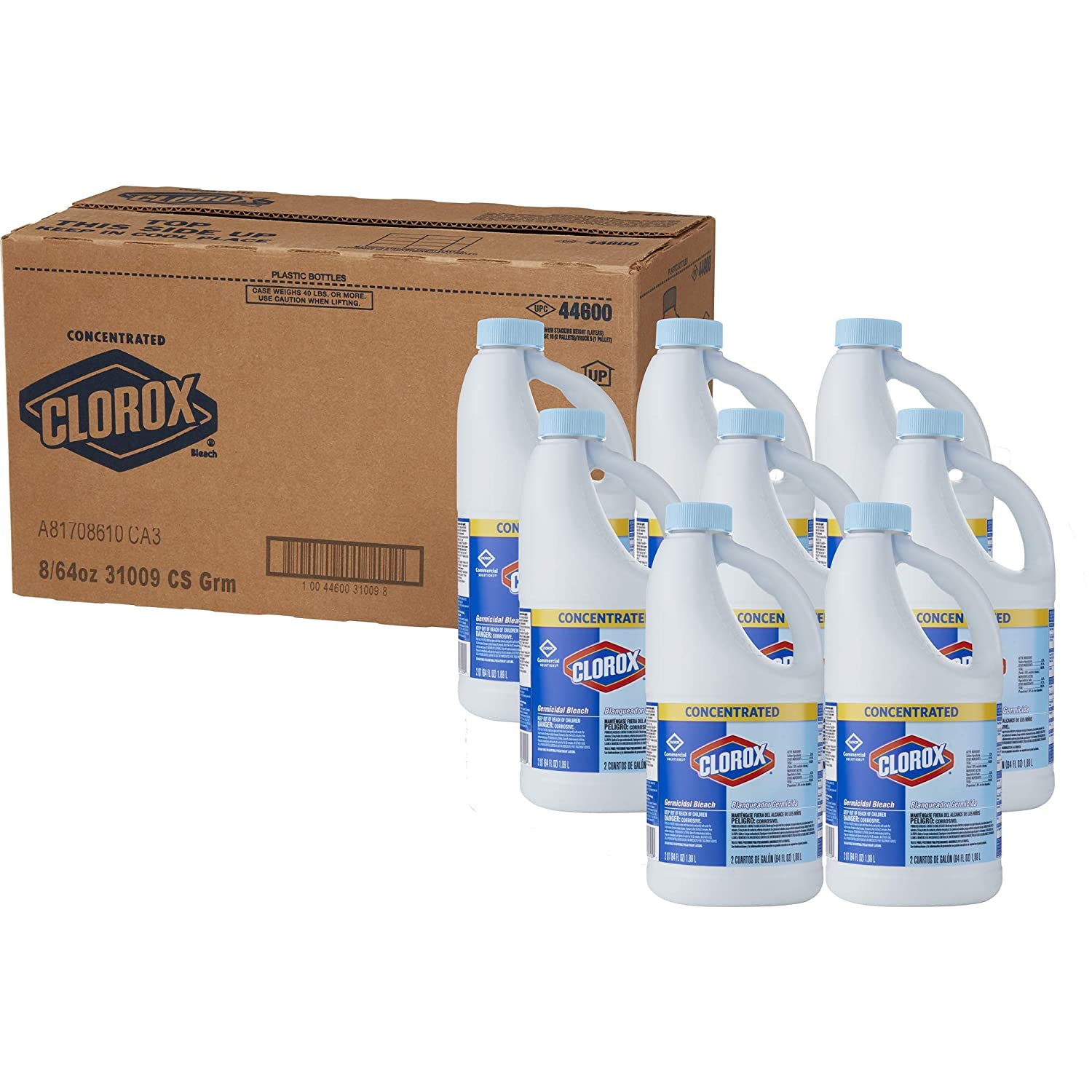 Clorox Commercial Solutions Clorox Germicidal Bleach, Concentrated, 64 Ounces, 8 Bottles/Case (31009) The Clorox Company COX31009CT