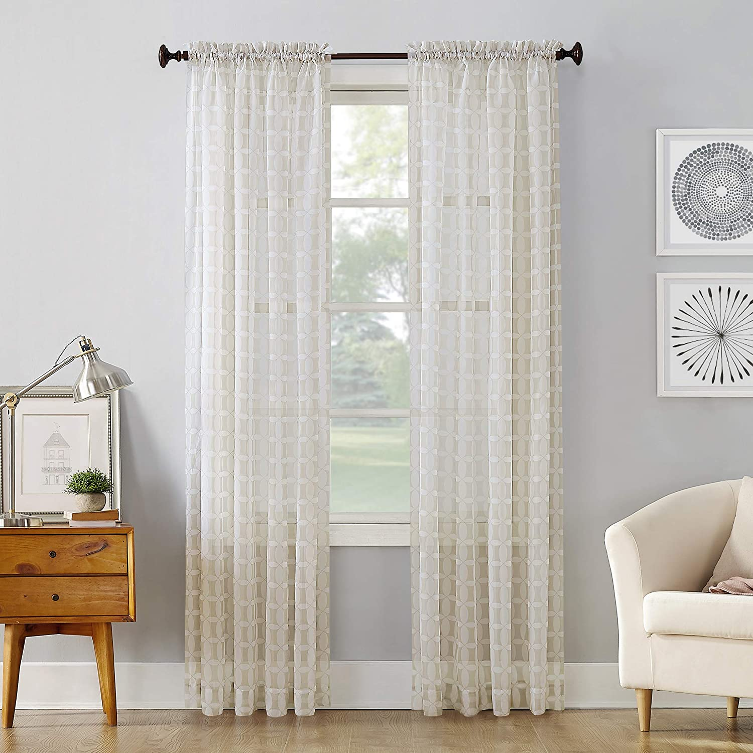 No 918 Miller Geometric Sheer Rod Pocket Curtain Panel 59 X 63 Taupe Home Kitchen