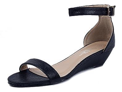 Damen Rund Offener Zehe Niedriger Absatz Freizeit Wedges Pumps,EuL01 Schwarz 36 AgeeMi Shoes