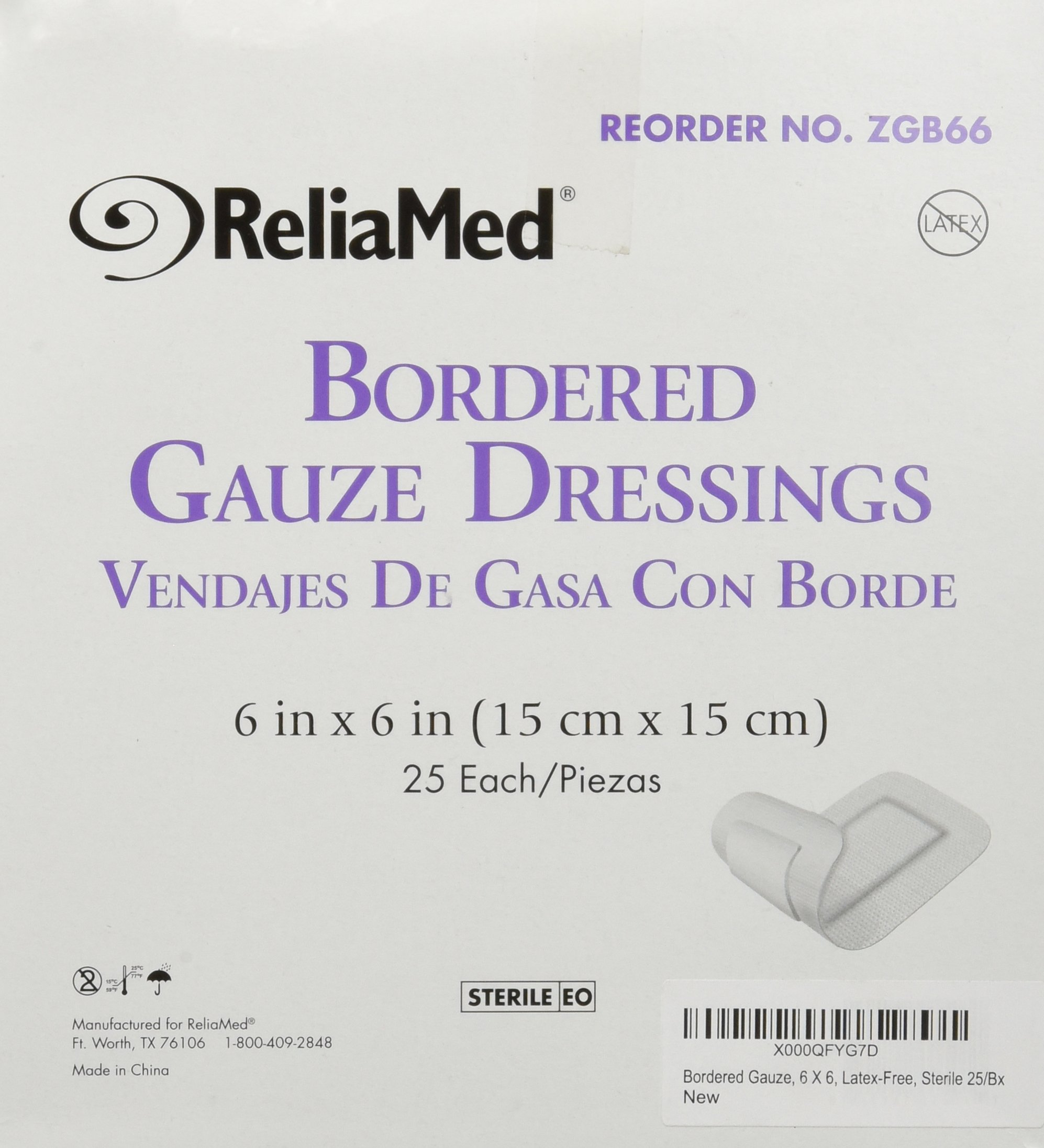 Bordered Gauze, 6 X 6, Latex-Free, Sterile 25/Bx by Reliamed