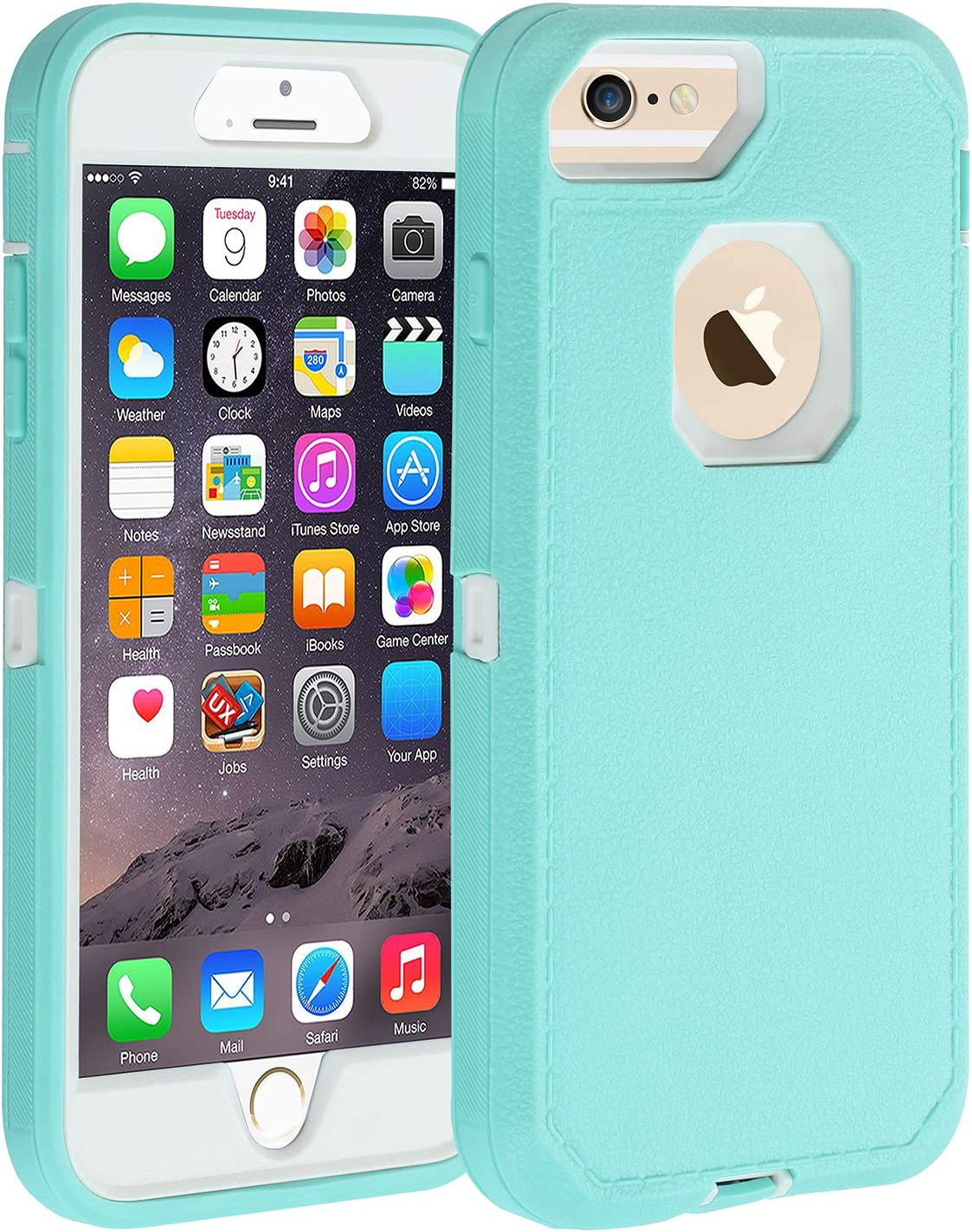 Co-Goldguard Case for iPhone 6s Plus/6 Plus,Heavy Duty [No Screen Protector] 3 in 1 Cover with Screen Bumper Shell for iPhone 6+/6s+ 5.5 inch, Light Blue/White