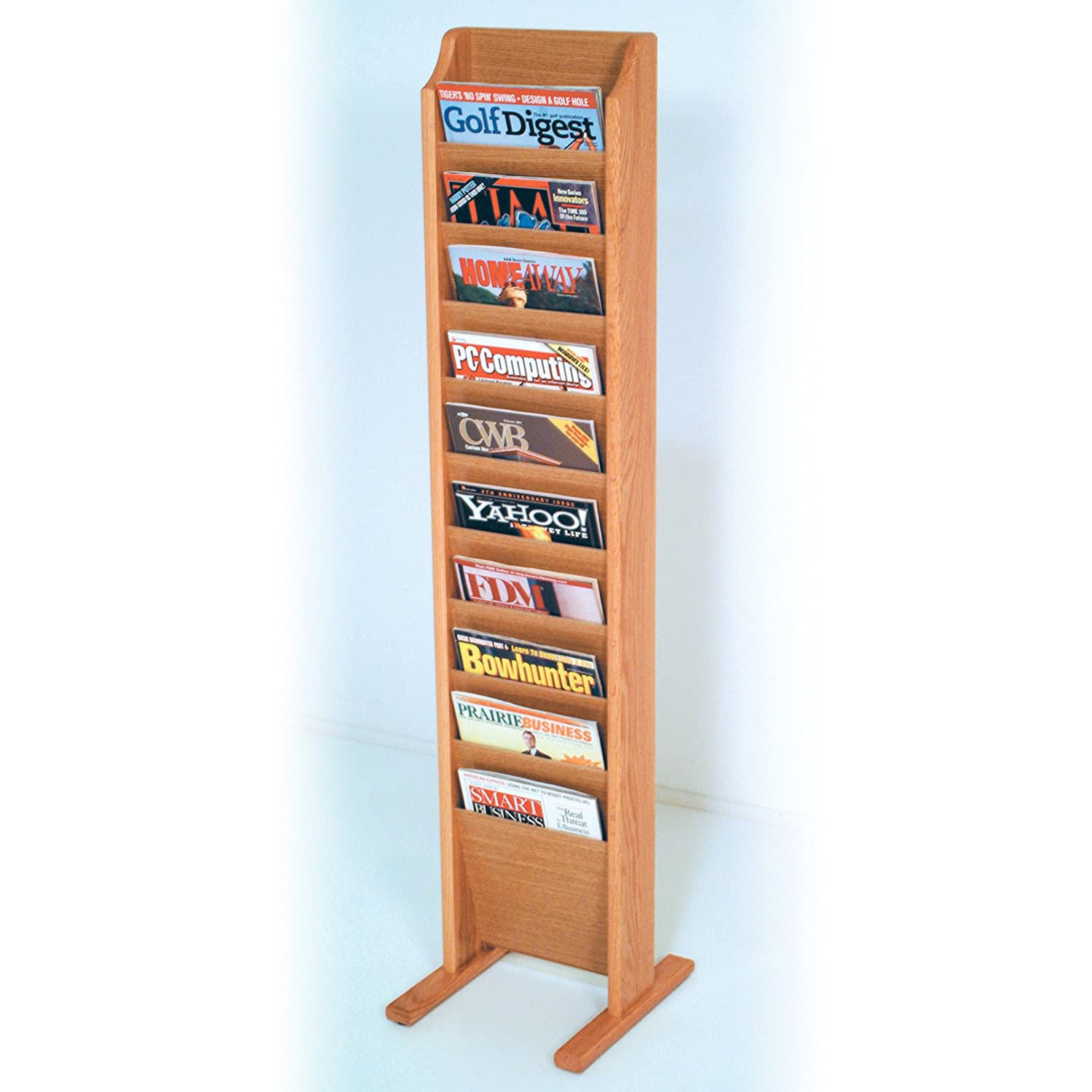 Wooden Mallet 10 Pocket Cascade Free-Standing Magazine Rack, Light Oak MR10-FSLO