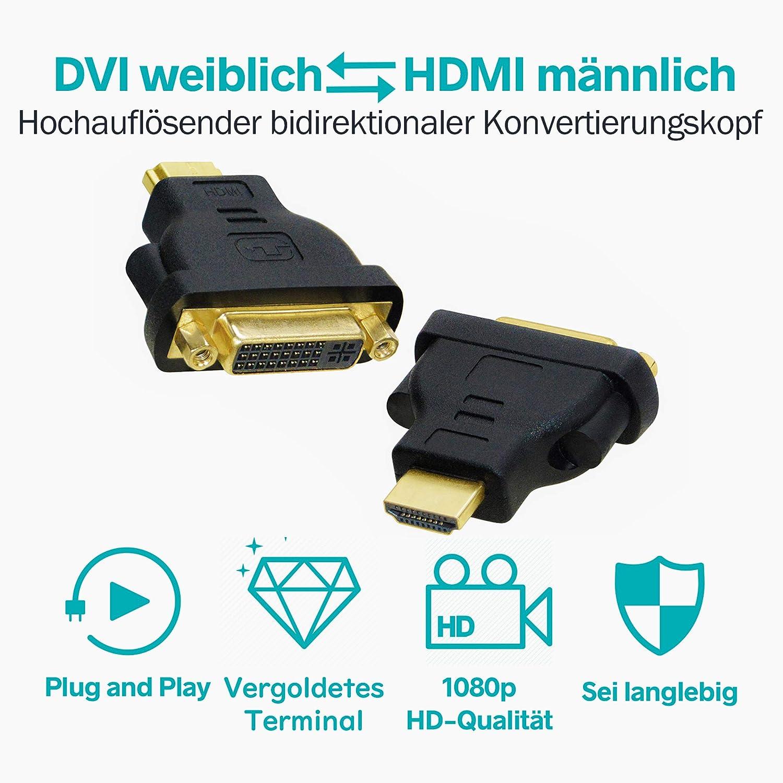 Buchse auf HDMI Stecker Konverter vergoldet DVI-I 2er Pack 5 Pins Unterst/ützung 1080P Full HD Generic DVI zu HDMI Adapter, Bidirektionales DVI 24