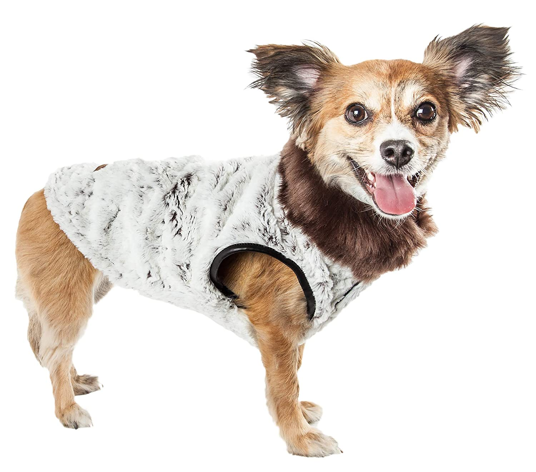 Grey Medium Grey Medium Pet Life Luxe 'Purrlage' Pelage Designer Fur Dog Coat Jacket, Medium, Grey