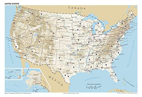 Amazon.com : 13x19 Anchor Maps United States General ...
