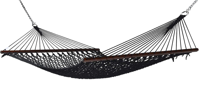 Caribbean Rope Hammock – 55 Inch – Soft-Spun Polyester Black