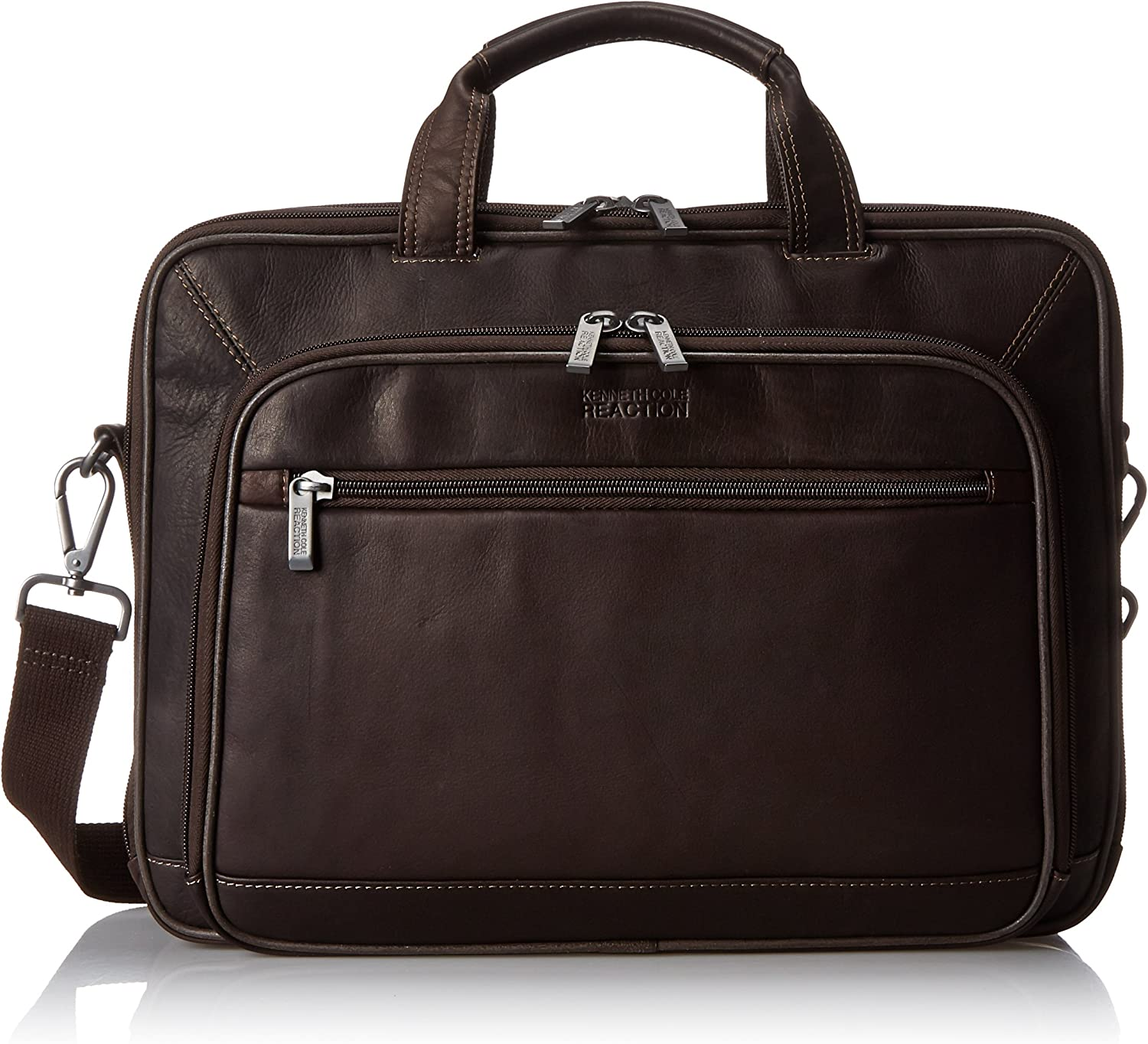 """Kenneth Cole Reaction Colombian Leather Dual Compartment Top Zip 16"""" Laptop Portfolio, Brown"""
