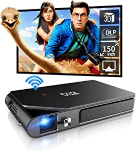 WIKISH Mini Projector, WiFi Portable Video Projector 1080P Support Home Theater with Rechargeable Battery for Smartphone Tv Stick Laptop PC Hdmi Usb
