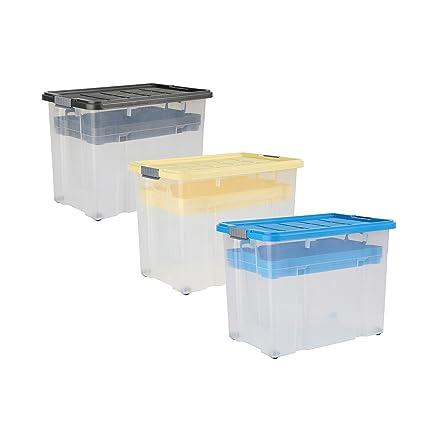 axentia 235876 Unibox - Caja de plástico con tapa y ruedas (60 x 40 x