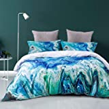 HYPREST King Duvet Cover Blue- Soft Breathable Lightweight Modern Marble Aesthetic Bedding Comforter Cover Set Coastal Duvet