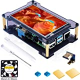 Miuzei Raspberry Pi 4 Touchscreen with Case &Fan, 4 inch IPS Full-Angle Game Display, 800x480 Pixel, Support HDMI Input with Touch Pen, 4 Pcs Heatsinks, (Support Raspbian, Kali)